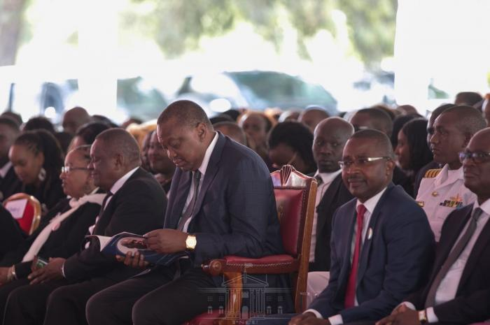 President Uhuru Kenyatta attends the burial service of Charles Rubia in Kandara, Murang'a County on Monday, December 30, 2019.