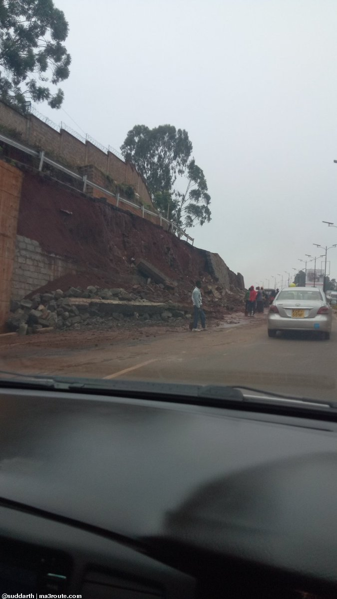 A section of Waiyaki Way where a wall collapsed on the highway at Redhill Link Road on Monday, January 27, 2020.