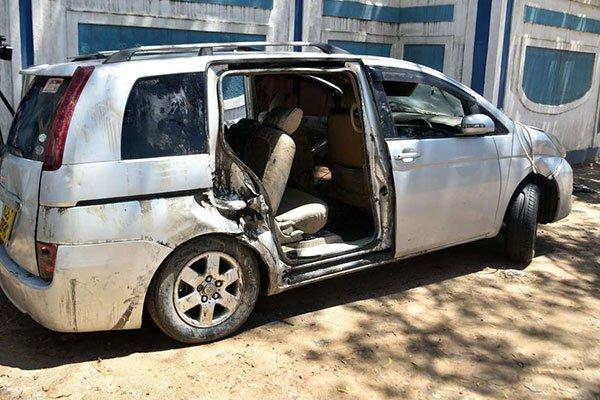 The vehicle that plunged into the Indian ocean killing Mariam Kighenda and her daughter. The vehicle was retrieved on Friday, October 11.