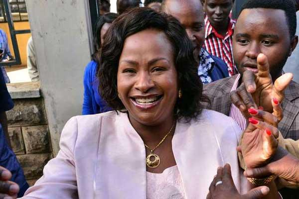 Former Machakos County gubernatorial aspirant Wavinya Ndeti is all smiles. On January 14, President Uhuru appointed her as the new CAS for transport.