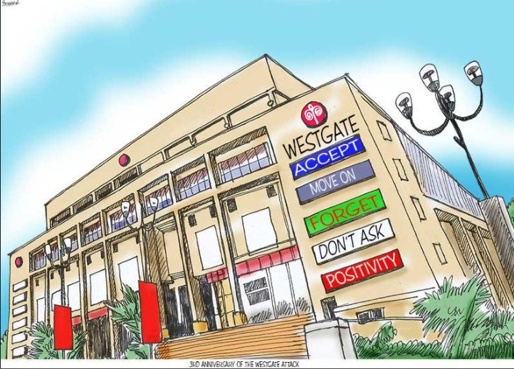 A satirical graphic created by Journalist Patrick Gathara to embody the betrayal felt by relatives of victims and survivors of the Westgate Mall attack after a commission promised by Uhuru to investigate the security lapses that led to the attack never materialised.