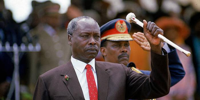 Daniel Arap Moi, poised with his famous baton, during his 4th term inaugural ceremony