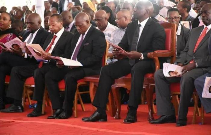 DP William Ruto joins mourners at the burial of the mother of Mathira MP Rigathi Gachagua on Tuesday, January 7.