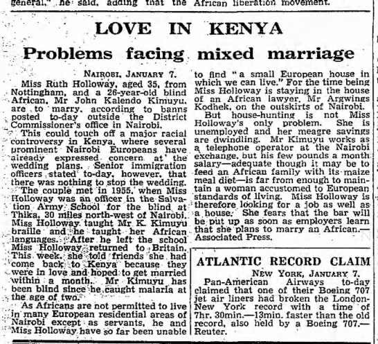 The newspaper cut from The Guardian newspaper in the UK, written in January 1957 detailing the interracial relationship between Kimuyu and Holloway.