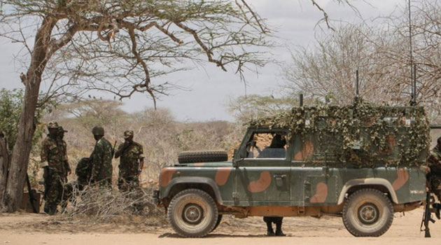 KDF soldiers during one of their patrols at the Kenya-Somalia border. Lt. Colonel Abdulaziz reported that in one of such patrols, he came across rogue police officers transporting women and children from the Somalia region into Kenya.
