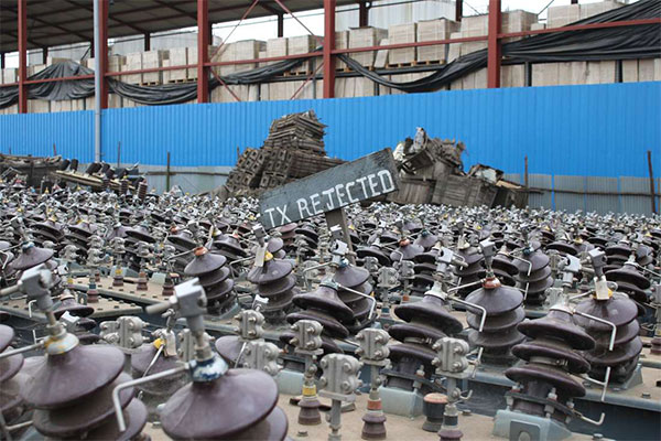 A cache of defective transformers at Kenya Power's storage yard in Nairobi's Industrial Area.