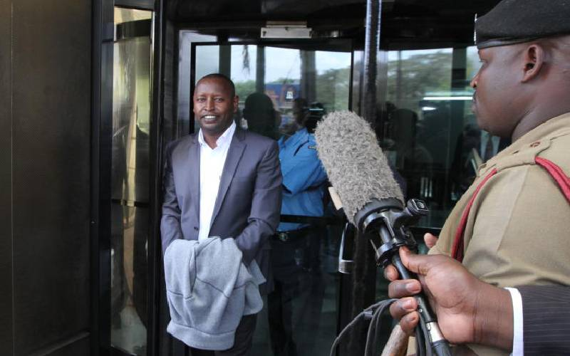 Lenolkulal leaving the court in May 2019 after a shocking verdict that released him on a bail of Ksh100 million.
