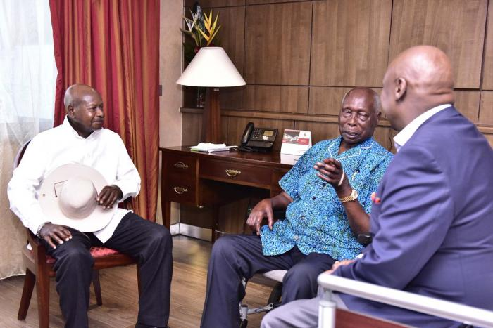 Ugandan President Yoweri Museveni, (l) at former President Daniel Moi's Kabarak home, accompanied by Baringo Senator Gideon Moi on Friday, March 29.