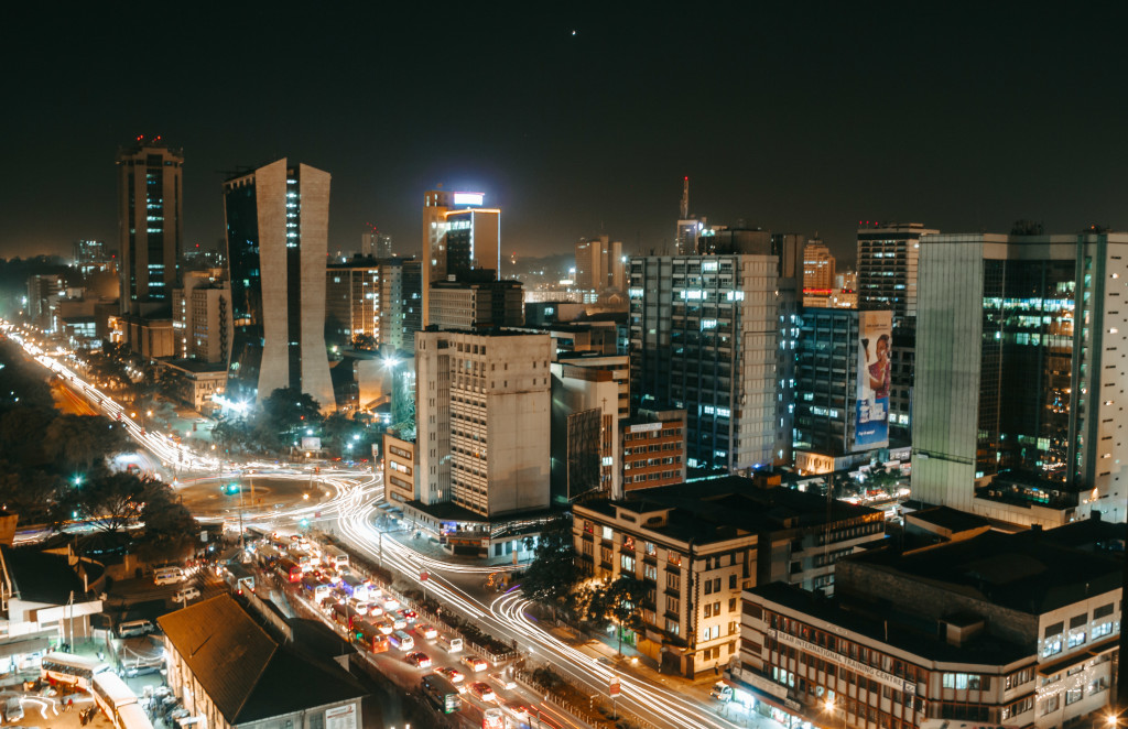 A view of Nairobi at night
