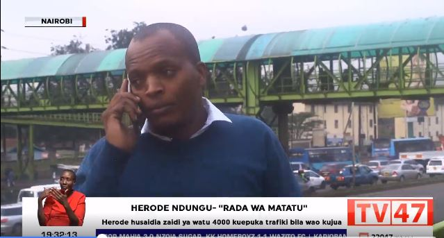 Christopher Ndung'u (pictured) is a traffic marshall along Thika road.