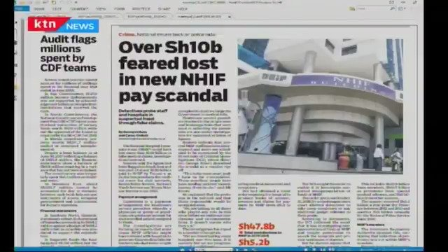 A section of a newspaper report detailing the Ksh10 billion scandal at NHIF.