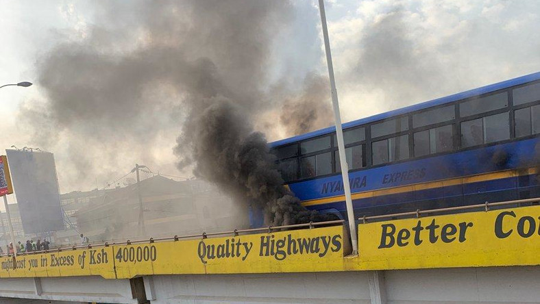 A bus ferrying passengers burst into flames on Thika Superhighway on Saturday, December 7, 2019