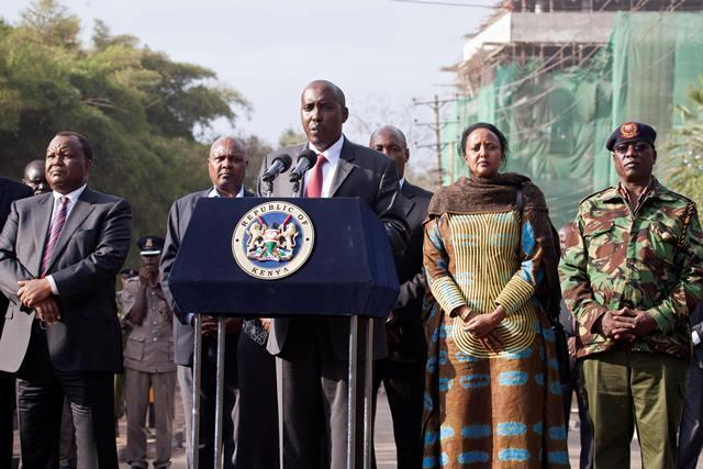 Former Interior CS Joseph ole Lenku flanked by several government officials during a press briefing on the Westgate Mall siege.