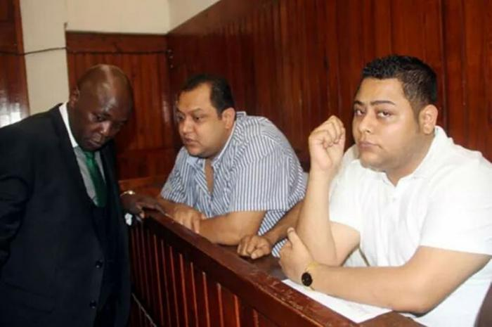 Akasha brothers and lawyer Cliff Ombeta in a Kenyan court on January 23, 2017.