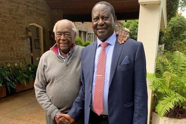 Veteran politician Charles Njonjo and former Prime Minister Raila Odinga.