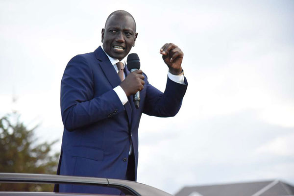 Deputy President William Ruto giving an address. He has marked the country into three regions and is set to seize it region by region.