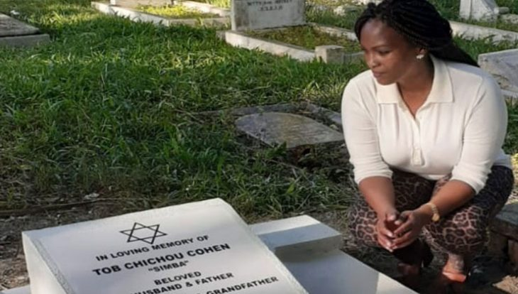 Sarah Cohen (pictured) was on Thursday afternoon, January 30, spotted at her husband's graveside.