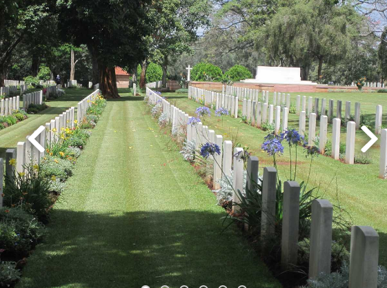 A section of the Nairobi War Cemetery maintained by the Commonwealth Graves Commission. In it are soldiers and carriers that lost their lives while fighting alongside the British in World War 2.
