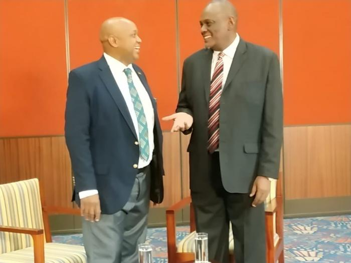 KTN presenter Tony Gachoka with former Jubilee Vice Chairman David Murathe during a Point Blank interview that aired on April 2019.