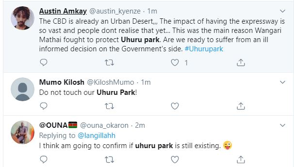 Twitter comments following the new expressway that is set to run through the historic Uhuru Park.