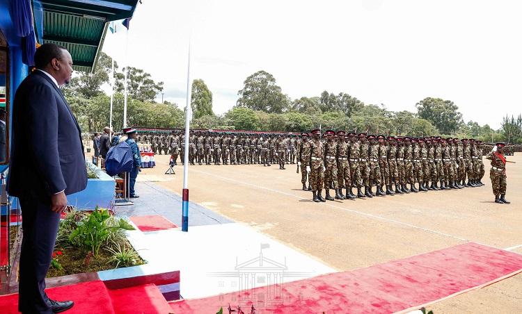 President Uhuru Kenyatta presiding over the pass out ceremony of KDF recruits at Moi Barracks in Eldoret. President Kenyatta applauded the high number of female recruits.