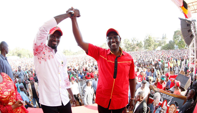 DP William Ruto with Mcdonald Mariga during Kibra campaigns at Laini Saba grounds on Sunday, November 3, 2019.