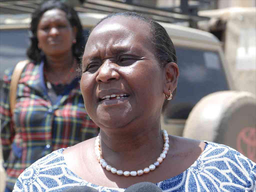 Samburu woman representative Maison Leshoomo talking to the press in Maralal town in February 5, 2018.