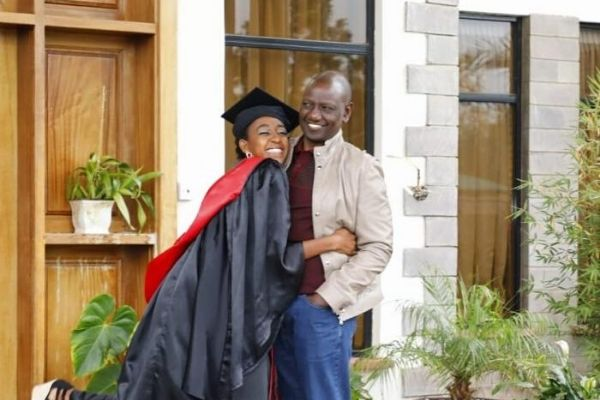 Deputy President William Ruto and his daughter Stephanie in her graduation gown