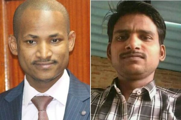 A split photo of Babu Owino and an Indian man
