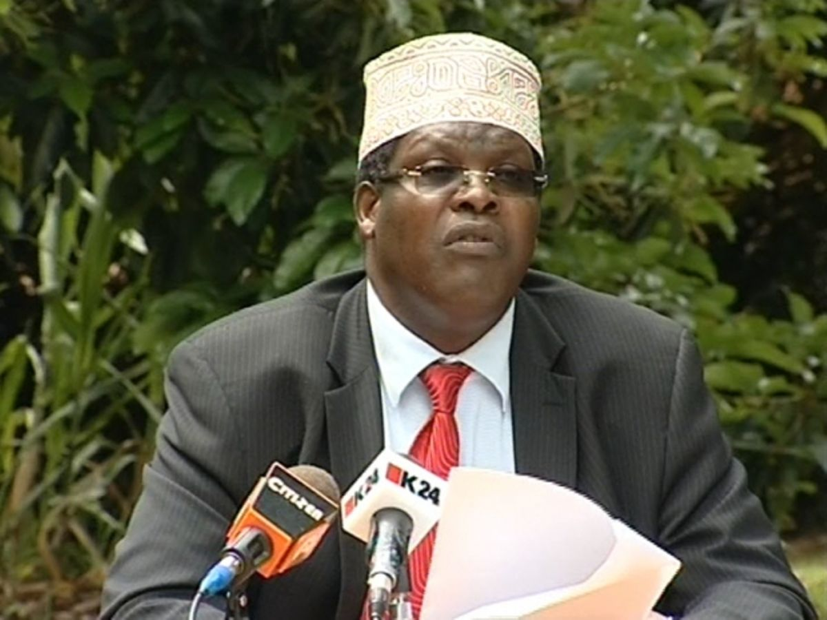 A photo of controversial lawyer Miguna Miguna giving an address.