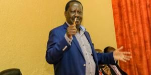 ODM leader Raila Odinga at a meeting with Maa leaders at Maasai Lodge, Narok, on Monday, February 17, 2020