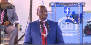 Deputy President William Ruto speaking at the Full Gospel Gatunduri Church in Embu on February 23, 2020.