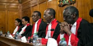 Supreme court judges in a hearing of the 2017 general election presidential results petition.