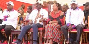 FROM LEFT: Narok Governor Samuel Tunai, ODM leader Raila Odinga and Kirinyaga Governor Ann Waiguru at a Building Bridges Initiative (BBI) meeting held at the William Ole Ntimama Stadium in Narok on Saturday, February 23