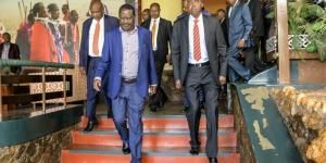 Raila Odinga with Kajiado Governor Joseph Ole Lenku after a BBI meeting on Monday, February 17, 2020, in Narok County