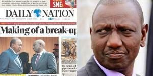 Cover of Daily Nation Newspaper of Monday, February 24, 2020 (left) and DP William Ruto.