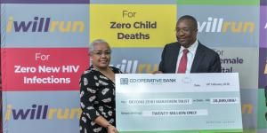 Co-operative Bank Group Managing Director & CEO, Dr. Gideon Muriuki hands a Ksh20 million cheque to First Lady Margaret Kenyatta at State House on Wednesday, February 19, 2020.