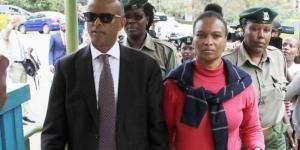 Prime suspect in Tob Cohen's murder Sarah Cohen and her lawyer Philip Murgor in court on October 3, 2019.