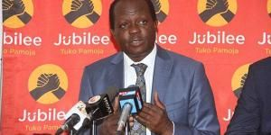Jubilee Party Secretary-General Raphael Tuju addressing a press conference on July 22, 2018 at the party headquarters
