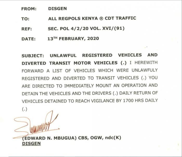 Photo of the statement by Deputy Inspector General of Police Edward Mbugua issued on Tuesday, February 18, 2020.