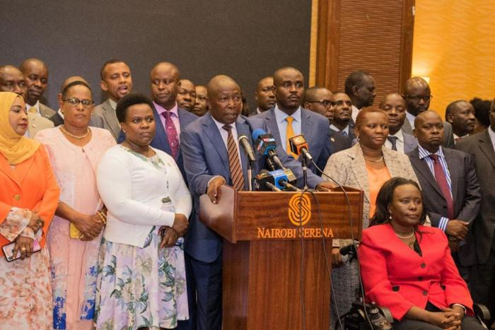 Legislators at the Serena Hotel demanding for the resignation of Deputy President William Ruto on Wednesday, March 11