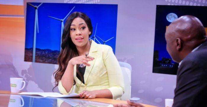 Victoria Rubadiri Interviews a guest on Citizen TV.