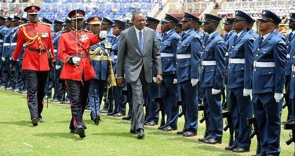 Uhuru Kenyatta inspects a guard of honour at Mama Ngina Waterfront in Mombasa on October 20, 2019