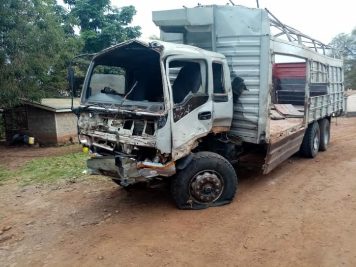 A photo of the lorry involved in an accident with Dr. Were's car. He Were's car. He died while rushing to save a pregnant woman.