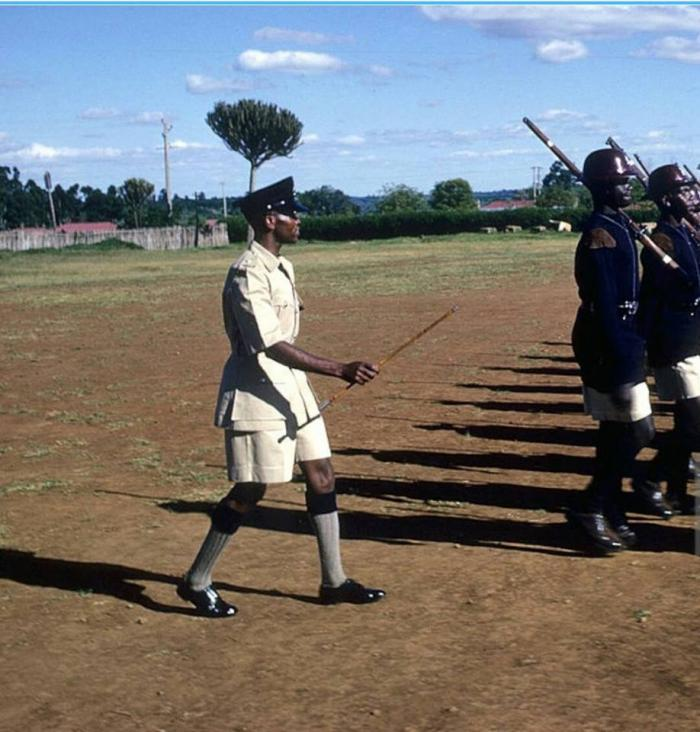 Kipchoge Keino drilling recruits at Kiganjo Police Training College in 1966.