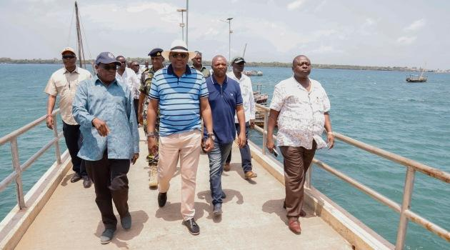 President Uhuru Kenyatta inspecting Shimoni Port in Kwale County on September 8, 2019. He was at the coast for a week.