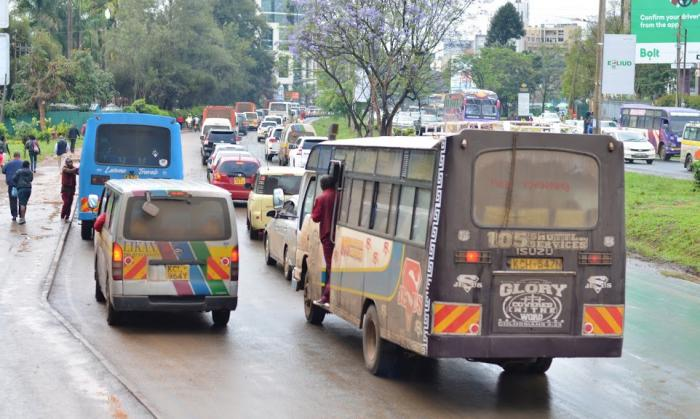 Traffic snarl on a road in Nairobi. On Friday, November 22, 2019, KURA announced that a section of King'ara Road will be closed for 7 days in December