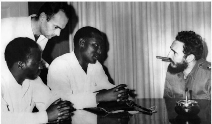 Kanu delegates Kariuki Njiri and Jose Mathenge meeting Fidel Castro in Cuba in 1962.