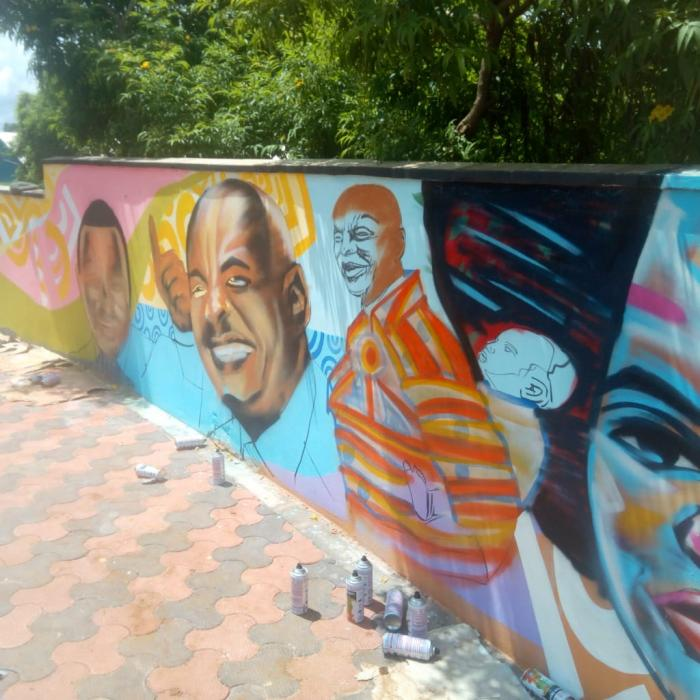 Grafitti displayed at the Wote Green Public Park in Wote, Makueni County