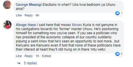 Additional reactions to Moses Kuria's post of a photo of DP Ruto and he on Saturday, November 30, 2019